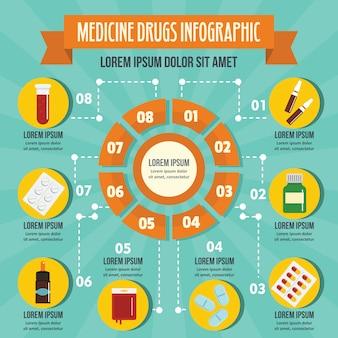 Medicina drogas infográfico conceito, estilo simples