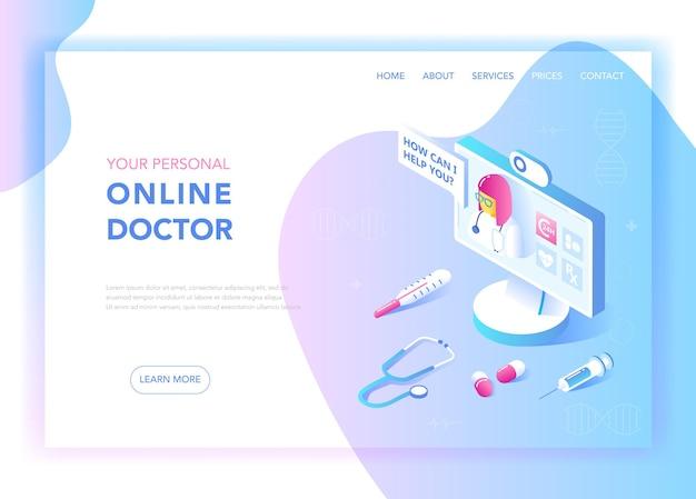 Medicina on-line e conceito de design isométrico plano de saúde. serviços médicos, modelo de página de destino de farmácia. layout da página de consulta de saúde. ilustração vetorial