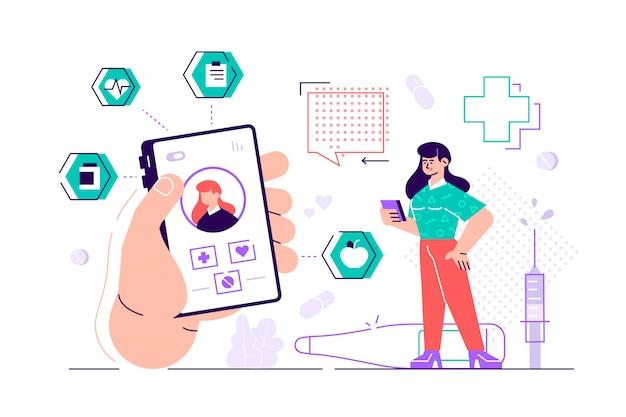 Medicina on-line. médico conceito on-line com conjunto de ícones. consulta médica. o conceito de farmácia on-line. ilustração plana. ilustração de design moderno estilo simples para página da web, cartões