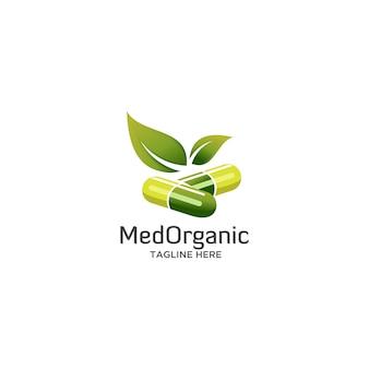 Medicina orgânica com logotipo de folha verde