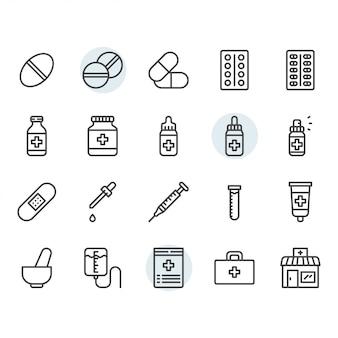 Medicina relacionados com ícone e símbolo definido no contorno