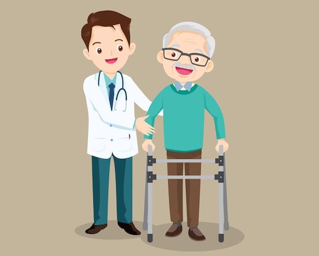 Médico ajuda o avô a ir ao andador