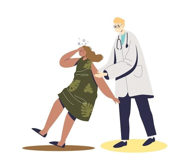 Médico ajudando mulher desmaiada e sofrendo de estresse