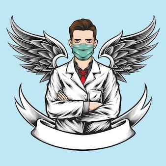 Médico anjo com asas