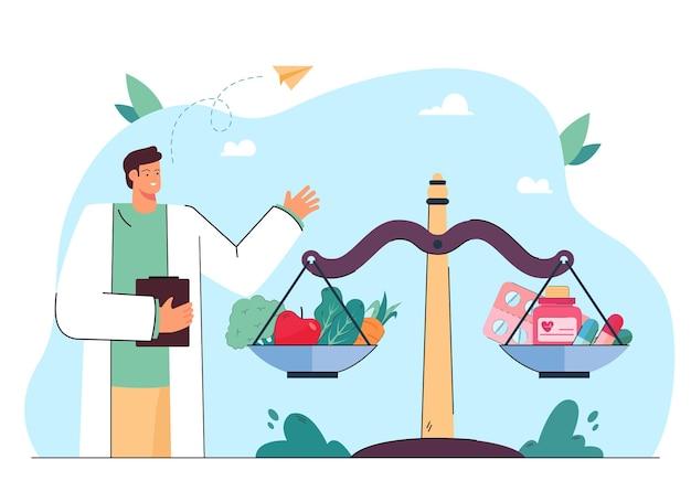 Médico ao lado de escalas com comprimidos e vegetais. equilíbrio entre alimentação saudável e ilustração plana de vitaminas
