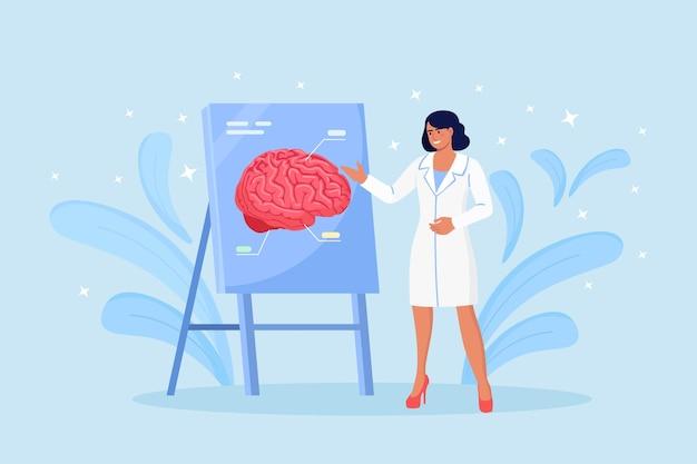 Médico apontando no painel de demonstração com cérebro humano explica suas oportunidades. médico ou cientista ensinando sobre alzheimer, sintomas de demência, doença mental. conferência médica.