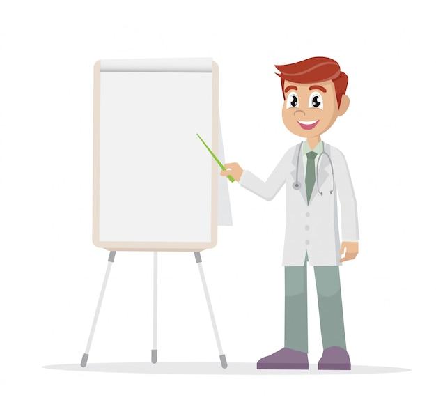 Médico apontando um quadro branco.
