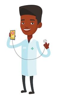 Médico apresentando app para medir o pulso do coração.