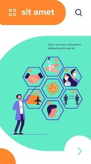 Médico apresentando dicas para proteção contra coronavírus e prevenção de disseminação de epidemia
