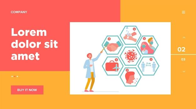 Médico apresentando dicas para proteção contra coronavírus e prevenção de propagação de epidemia.