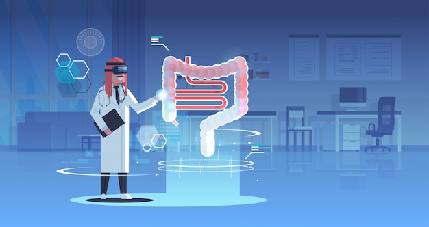 Médico árabe usando óculos digitais olhando realidade virtual sistema digestivo humano anatomia de órgãos