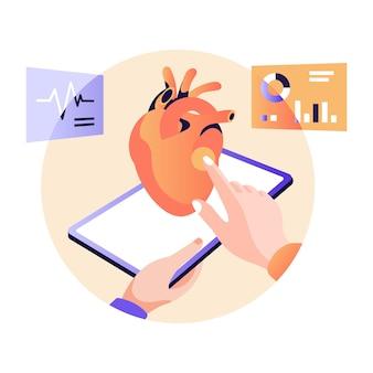 Médico assistindo ilustração plana do monitor de ecg