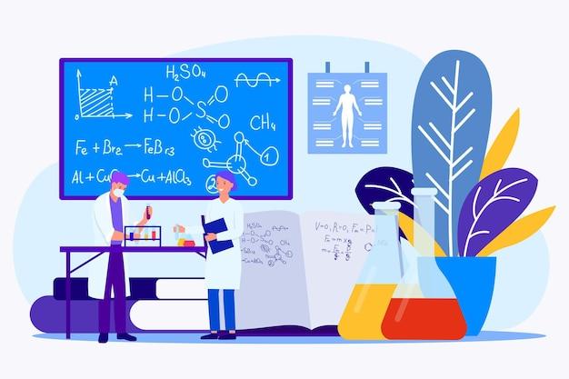 Médico associado de pesquisa profissional especialista trabalhar com fórmula científica minúscula personagem plana v ...