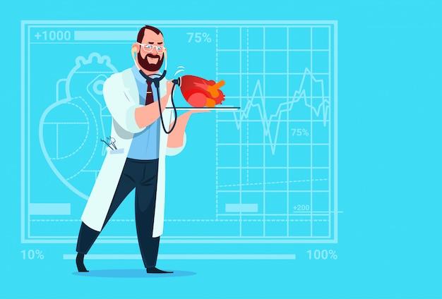 Médico, cardiologista, examinando, coração, com, estetoscópio médico, clínicas, trabalhador, hospitalar