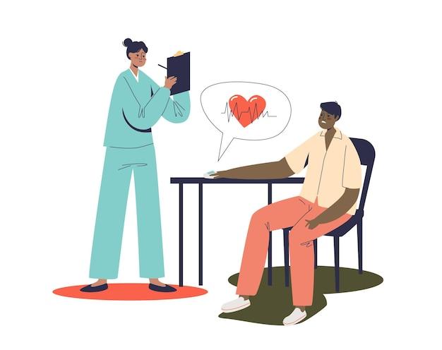 Médico cardiologista examinando paciente com aumento da frequência cardíaca. conceito de perigo de ataque cardíaco. médica feminina, consultando um homem doente com dor no coração.