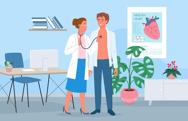 Médico cardiologista mulher personagem com estetoscópio e homem paciente em exame médico no hospital