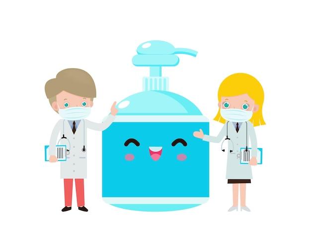 Médico caucasiano e álcool gel proteção contra vírus e bactérias e coronavírus ou covídeo