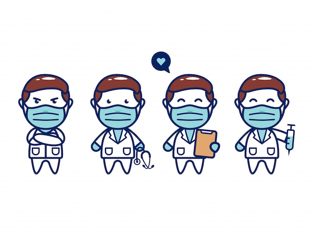 Médico chibi bonito com conjunto de máscara facial