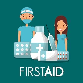 Médico cirurgião e enfermeiro com medicamento de primeiros socorros