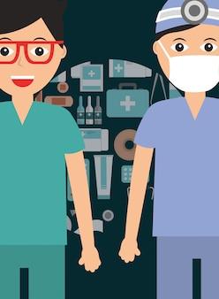 Médico cirurgião e paramédico com pessoal de máscara médica