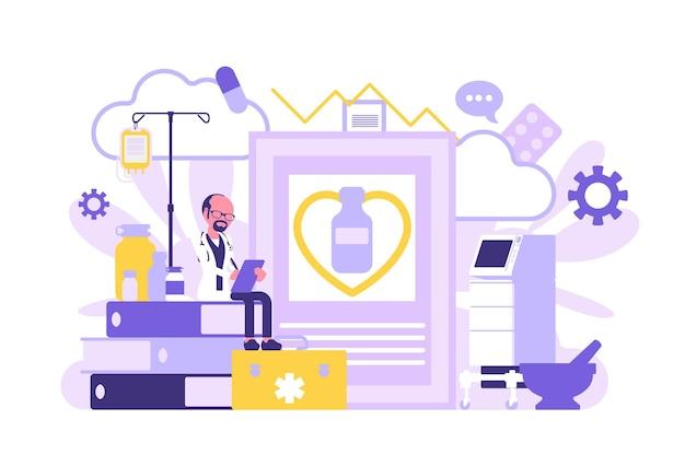 Médico, clínico geral trabalhando. clínica profissional e equipamento hospitalar gigante, arquivos e papel de exame. medicina, conceito de saúde. ilustração vetorial com personagens sem rosto