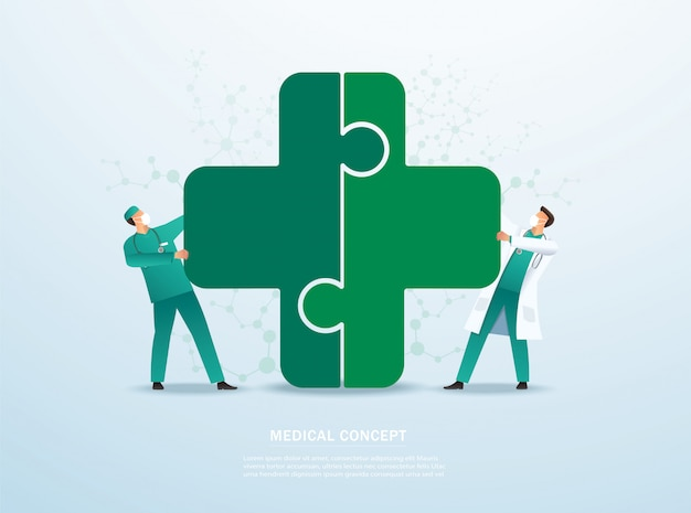 Médico, colocando o ícone madical quebra-cabeça