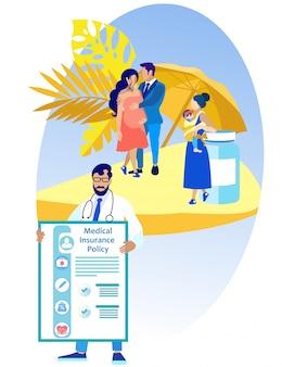 Médico com apólice de seguro médico e pessoas.