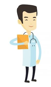 Médico com arquivo no consultório médico.