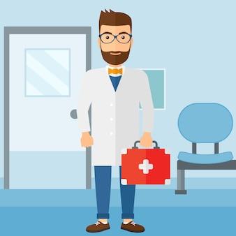 Médico com caixa de primeiros socorros.