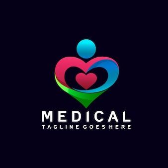Médico com design de logotipo de coração