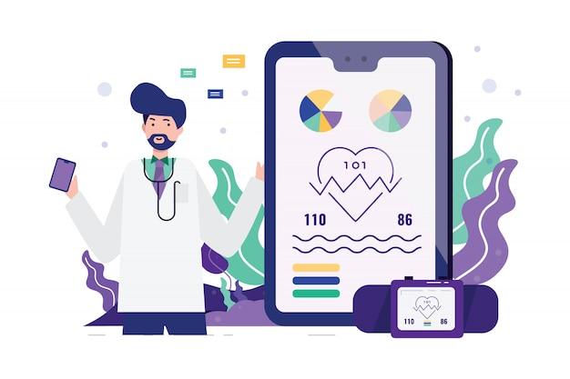 Médico com dispositivos inteligentes e aplicativos para a saúde.