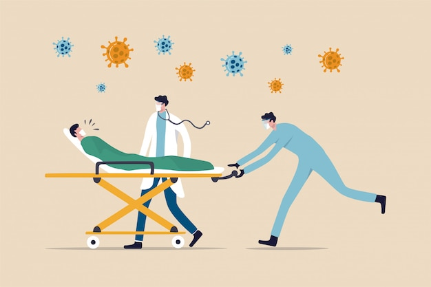 Médico com equipe médica montando cama com paciente crítico de pneumonia por coronavírus covid-19 para pronto-socorro