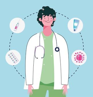 Médico com estetoscópio medicação seringa médica cuidados de saúde ilustração de vacinação