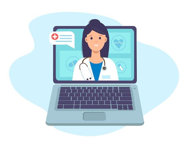 Médico com estetoscópio na tela do laptop consulta e suporte médico online
