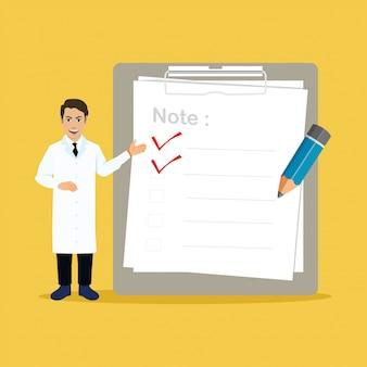 Médico com grande área de transferência e lista de verificação
