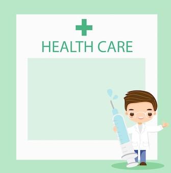 Médico com guia de seringas para cuidados de saúde