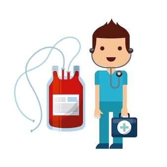 Médico com ícone de bolsa de sangue