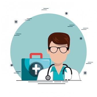 Médico com ícones de serviço médico