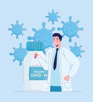 Médico com ilustração de partículas e frasco de vacina de vírus
