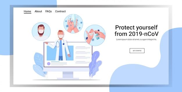 Médico com máscara protetora, dando medidas básicas de proteção contra consulta on-line de coronavírus