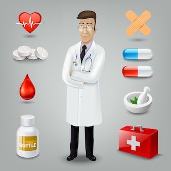 Médico com objeto médico. ilustração