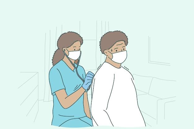 Médico com paciente de serviço domiciliar durante o conceito de trabalho.