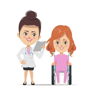 Médico com paciente mulher sentada na cadeira de rodas