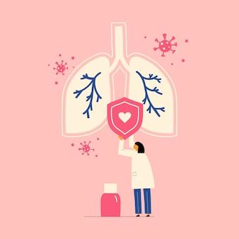 Médico com pulmões