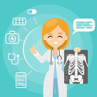 Médico com raio-x. mulher segurando imagens de raios.