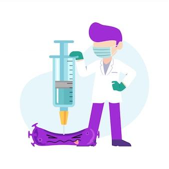 Médico com seringa de cura de vírus, combatendo a doença