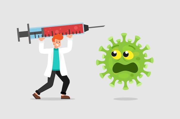 Médico com seringa grande e vírus assustado