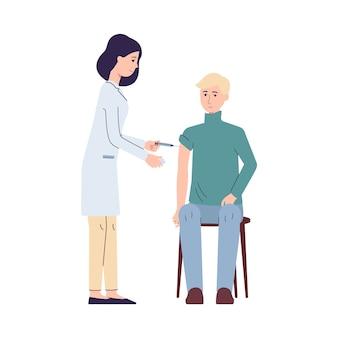 Médico com seringa vacinou uma ilustração de paciente