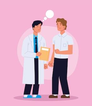 Médico com um jovem paciente
