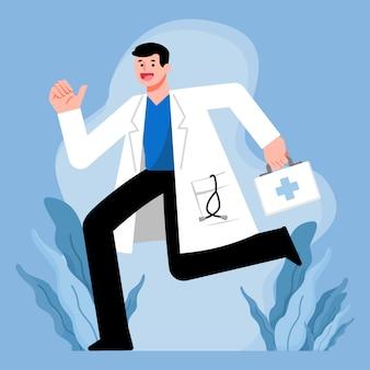 Médico, conceito de serviços de saúde, médico correndo com caixa de primeiros socorros, design de personagens de ilustração.